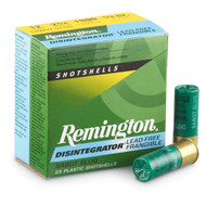 "Remington Disintegrator 12 gauge, 2 3/4"" shell loaded with lead-free frangible 00 buckshot, 25 rounds per box, manufactured by Remington."