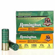 "Remington Premier Hevi-Shot Magnum Buffered Turkey Loads 12 gauge, 2 3/4"" shell loaded with #5 shot (1 3/8 oz.), 10 rounds per box, manufactured by Remington."