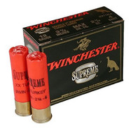 "Winchester Supreme Double X Magnum Turkey Loads 12 gauge, 3-1/2"" shell loaded with #5 shot (2 1/4 oz.), 10 rounds per box, manufactured by Olin under the Winchester trademark."