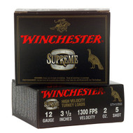 """Winchester Supreme High Velocity Turkey Loads 12 gauge, 3-1/2"""" shell loaded with #5 shot (2 oz.), 10 rounds per box, manufactured by Olin under the Winchester trademark."""