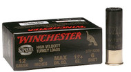 "Winchester Supreme High Velocity Turkey Loads 12 gauge, 3"" shell loaded with #6 shot (1-3/4 oz.), 10 rounds per box, manufactured by Olin under the Winchester trademark."