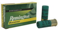 "Remington Express 12 gauge, 2-3/4"" shell loaded with 00 buckshot (9 pellets), 5 rounds per box, manufactured by Remington."