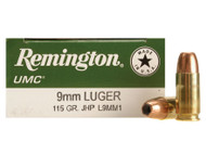 Remington UMC 9mm 115 Grain Brass Jacketed Hollow Point, has 50 rounds per box, manufactured by Remington.