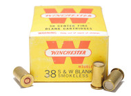This is a new (old stock) box on Winchester ammunition in the .38 Smith & Wesson caliber. These are blank rounds filled with smokeless powder and come 50 rounds per box.