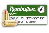 Remington UMC .380 acp  95 Grain FMJ, has 50 rounds per box, manufactured by Remington.