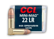 CCI Mini-Mag .22 long rifle 40 Grain Copper-Plated Round Nose, has 100 rounds per box, manufactured by CCI.