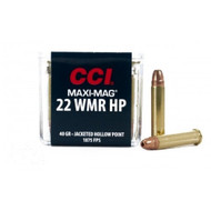 CCI MAXI-MAG .22 magnum 40 Grain Jacketed Hollow Point, has 50 rounds per box, manufactured by CCI.