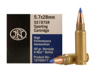 FNH 5.7 x 28mm 40 Grain V-Max, has 50 rounds per box, manufactured by FNH.