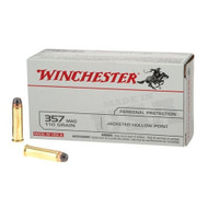 Winchester .357 magnum 110 grain Brass Jacketed Hollow Point, has 50 rounds per box, manufactured by Olin for Winchester.
