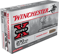 This is a new box of Winchester Super-X ammunition in the .270 win caliber. They have 150 grain Power Point projectiles and come 20 rounds per box.