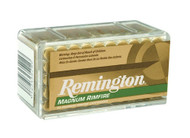This is Remington ammunition, .22 magnum 40 Grain Pointed Soft Point (PSP) has 50 rounds per box, manufactured by Remington.