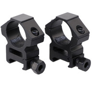 """This is a pair of 1"""" diameter scope rings. The rings feature a mid and high see thru and will fit on any picatinny / weaver rail. Constructed from lightweight aluminum."""
