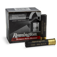"Remington HD Ultimate Home Defense 410 gauge, 2-1/2"" shell loaded with 000 buckshot (4 pellets), 15 rounds per box, manufactured by Remington."