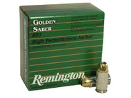 Remington Golden Saber .45 ACP 185 Grain Brass Jacketed Hollow Point, has 25 rounds per box, manufactured by Remington.