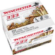 Winchester .22 long rifle 36 Grain Copper-Plated Hollow Point, has 333 rounds per box, manufactured by Winchester.