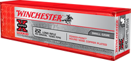 Winchester Super-X .22 long rifle 40 Grain Power-Point (hollow point) Copper-Plated Lead Round Nose, has 100 rounds per box, manufactured by Winchester.