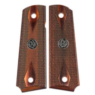 This is a pair of 1911 Ruger grips for the Government (Full-Size) 1911 frame (will fit Ruger, Colt, and many other ambidextrous cut 1911 clones ). Made in the double diamond checkered design, these walnut grips come complete with Chrome Ruger Medallions.