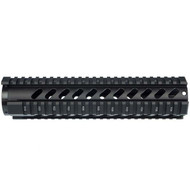 "This is an AR-15 free-float quad rail for the 10"" carbine length. This rail in made out of anodized aluminum and is T-marked on all 4 sides. Comes with barrel nut."