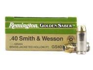Remington Golden Saber 40 s&w 165 Grain Brass Jacketed Hollow Point, has 25 rounds per box, manufactured by Remington.