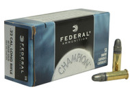 Federal Champion .22 long rifle 40 Grain Lead Round Nose, has 500 rounds per box, manufactured by Federal.