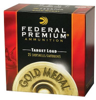 "Federal Premium Gold Medal Paper Target 12 gauge, 2-3/4"" shell loaded with 1 oz. of #8 shot, 25 rounds per box, manufactured by Federal Cartridge Company."