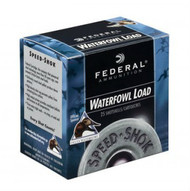 "Federal Premium Speed-Shok Waterfowl Load 12 gauge, 3-1/2"" shell loaded with 1-3/8 oz. of T-shot, 25 rounds per box, manufactured by Federal Cartridge Company."