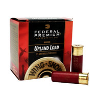 "Federal Premium Wing-Shok Upland Load 12 gauge, 3"" shell loaded with 1-7/8 oz. of #4 shot, 25 rounds per box, manufactured by Federal Cartridge Company."