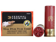 "Federal Premium FlightControl Mag-Shok Turkey Load 12 gauge, 2-3/4"" shell loaded with 1-1/2 oz. of #5 shot, 10 rounds per box, manufactured by Federal Cartridge Company."