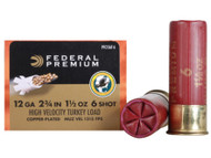 "Federal Premium FlightControl Mag-Shok Turkey Load 12 gauge, 2-3/4"" shell loaded with 1-1/2 oz. of #6 shot, 10 rounds per box, manufactured by Federal Cartridge Company."