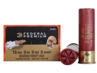"Federal Premium FlightControl Mag-Shok Turkey Load 12 gauge, 3"" shell loaded with 2 oz. of #5 copper-plated shot, 10 rounds per box, manufactured by Federal Cartridge Company."