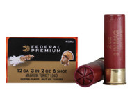 "Federal Premium FlightControl Mag-Shok Turkey Load 12 gauge, 3"" shell loaded with 2 oz. of #6 copper-plated shot, 10 rounds per box, manufactured by Federal Cartridge Company."