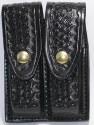 Gould & Goodrich Leather Basketweave Magazine Pouch holds (2) wide double stack magazines. This pouch has brass snaps.
