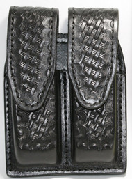 Gould & Goodrich Leather Basketweave Magazine Pouch holds (2) wide double stack magazines. This pouch has hidden snaps.