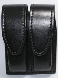 Gould & Goodrich Leather Magazine Pouch holds (2) double stack magazines. This pouch has hidden snaps.