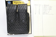 Uncle Mike's Leather Basketweave Magazine Pouch holds (2) double stack magazines. This pouch has black snaps.