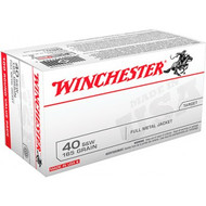This is a new box of Winchester ammunition in the 40 s&w caliber, 165 grain FMJ bullets and come 100 rounds per box.
