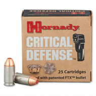 Hornady Critical Defense 9 x 18 makarov 95 Grain FTX, has 25 rounds per box, manufactured by Remington.