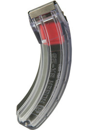 This is a factory Ruger BX-25 clear magazine for the 10/22 .22 lr, 25 round capacity. This magazine features one side that is completely clear so that you can visually see the remaining amount of ammunition in the magazine.