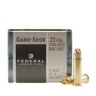 Federal Game-Shok .22 long rifle 25 Grain No. 12 bird shot, has 50 rounds per box, manufactured by Federal.