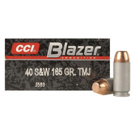 CCI Blazer 40 s&w 165 Grain FMJ, has 50 rounds per box, manufactured by CCI.