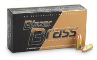 CCI Blazer Brass 9mm 165 Grain FMJ, has 50 rounds per box, manufactured by CCI.