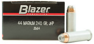 CCI Blazer .44 magnum 240 Grain JHP (Jacketed Hollow Point), has 50 rounds per box, manufactured by CCI.
