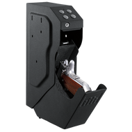 The GunVault SppedVault utilizes a keypad on a small vertical gun safe to make a fast access system that will keep your firearms secure.