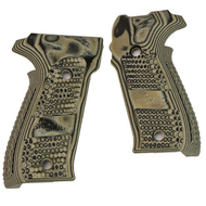 This is a pair of Sig Sauer grips for the P226. Made from G10 (Gmascus) these factory grips feature a Green color with a Piranha texture.