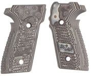 This is a pair of Sig Sauer grips for the P229. Made from G10 (Gmascus) these factory grips feature a Gray (and black) color with a Piranha texture.