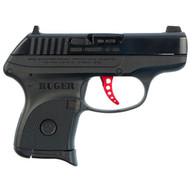 This is a Ruger LCP .380 acp, custom. The custom model LCP differs from the standard LCP in that it has a skelentonized anodized red trigger, a stainless steel guide rod, and the sights are a photoluminescent front sight with a drift adjustable rear sight.