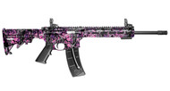 This is a Smith & Wesson M&P 15-22 Sport rifle with Muddy Girl furniture, chambered in .22 lr.