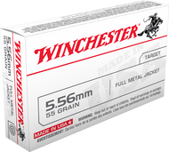 Winchester 5.56 Nato 55 Grain FMJ, has 20 rounds per box, manufactured by Winchester.