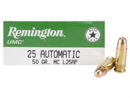 Remington UMC .25 acp 50 Grain Brass MC, has 50 rounds per box, manufactured by Remington.