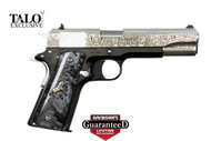 This is a Colt 1911 chambered in .38 super. exclusive Talo edition called the Mexican Heritage Silver Edition.